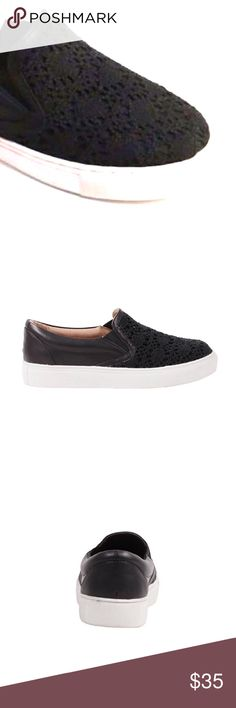 Black Lace black slip on sneaker features: a macramé upper. These sneakers are a perfect shoe, for a multi-seasonal vibe that flatters every woman. Pair these sneakers up with jeans for a more casual look, dress pants for a smart casual look or if you're looking for a flirty and girly look, put on a skater skirt or flowy dress. Boutique Shoes Flats & Loafers