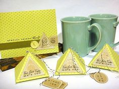 PTI July release, Pyramid favor-it box die Tea Gifts, Food Gifts, All About The Tea, Tea Holder, Colouring Techniques, My Tea, Sweet Tea, Homemade Gifts, Craft Fairs