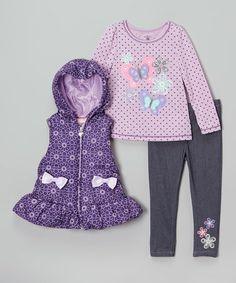 $ 23 - Kids Headquarters - Purple Floral Hooded Vest Set - Infant, Toddler & Girls - Size 5.