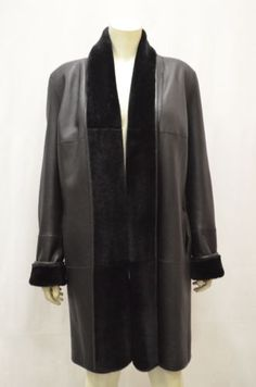 NWT MAXMARA MINCIO Sz 14 Black Shearling Leather Reversible Coat 140078MM