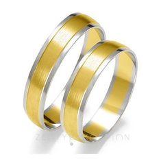Złote obrączki ślubnych z dwóch kolorów kruszcu w klasycznym, ponadczasowym stylu - Obrączki ślubne - GESELLE Jubiler