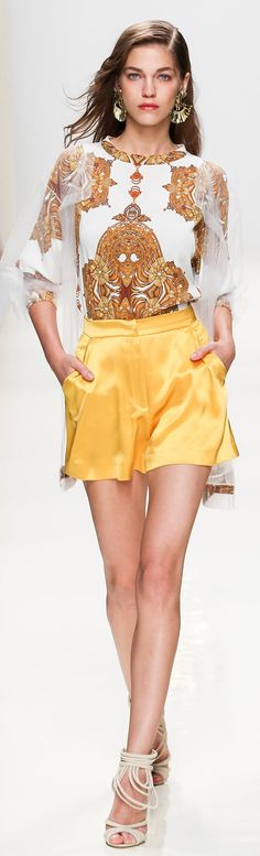 Valentin Yudashkin Spring 2014 RTW | Vintage Spring Style in Yellow | The sexy girl in yellow and White | #Thejewelryhut women fashion outfit clothing style apparel @roressclothes closet ideas