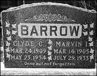 Clyde and Buck Barrow's original headstone, which was stolen