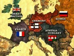First World War Map.The Germans dug in  at Paris France and for 4 years Europe was  doomed to the fruitless horrors of trench warfare.The nations of Europe fought each other to a stand still.France ,Britain & Russia and their lesser allies on one side and Germany-Austria-Hungary and their lesser allies on the other side