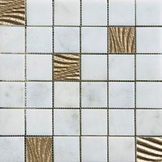 CNC works mosaic - White marble & Golden mosaic (DLT2501) #cncmosaic #mosaic #marble #naturalstone
