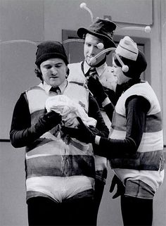 "The original cast of Saturday Night Live as ""The Killer Bees."" John Belushi, Chevy Chase & Gilda Radner"