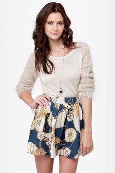 Cute Navy Blue Skirt - Scarf Print Skirt - Mini Skirt - $44.00