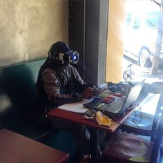 When I first saw this guy at the Royal Ground Coffee House my cloudy hungover brain thought he was a cyborg. Then I realized he was just a doofus using his VR in a coffee shop. #VR #virtualreality #cafe #royalgrounds #coffee #berkeley by matthewcyee - Shop VR at VirtualRealityDen.com