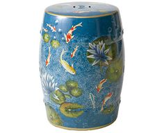 Royal Blue with Koi Carp and Water Lilies Stool