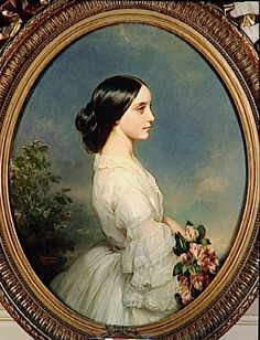 Portrait of Carmen Aguado, duchesse de Montmorency, by Franz Xaver Winterhalter, Victorian Paintings, Renaissance Paintings, Victorian Art, Renaissance Art, Franz Xaver Winterhalter, Classic Paintings, Old Paintings, L'art Du Portrait, Art Ancien