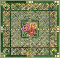 "Primrose Path 9.5"" x 9.5"" on 18 ct santa fe sage canvas  Pattern: $12.00 - by Laura J Perin Designs"