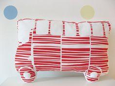Handprinted Organic Cotton Autobus Pillow