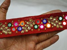 Decorative Fabric trims and embellishments Embroidered Indian Laces Trim Sari Border Sewing Crafting Trim Sari, Fabric Decor, Fabric Design, Diy Belts, Fashion Tape, Indian Fabric, Gold Earrings Designs, Gypsy Dresses, Decorative Trim