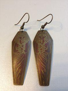 Vintage Brass Egyptian Style Pierced Earrings by vintagerepublic1, $25.00