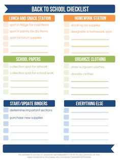 Trying to get all the new systems in place and organized?  How about a FREE Printable Back to School Checklist via Clean Mama