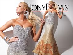 multi-color sequin prom dress gown with flared hem via Tony Bowls #fxprom