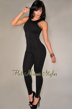 df72e927ca Black Padded Gold Accent Jumpsuit clubwear cocktail Women s clothing hot  miami styles hotmiamistyles hotmiamistyles.com