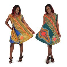 Traditional African Print Poncho Dress