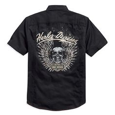 Black Label slim fit men's button up with contrast red stitching.Bourbeuse Valley Harley-Davidson®