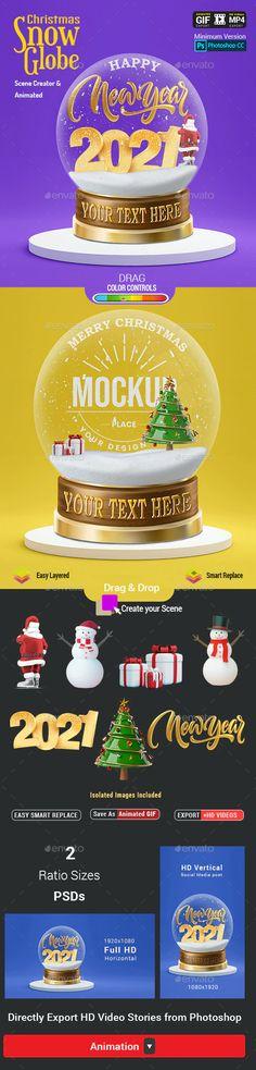 Christmas Snow Globe - Animated Scene Creator Mockup by Media_Variety