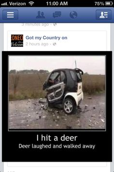 Funny car crash I hit a deer Funny Dirty Adult Jokes Memes Car Jokes, Car Humor, Funny Captions, Thats The Way, Just For Laughs, Haha Funny, Funny Stuff, Funny Humor, Funny Logic