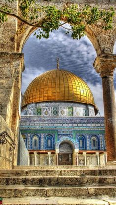 Dome of the Rock, Jerusalem - Capital of Israel for over 3000 years! Brunei, Architecture Antique, Islamic Architecture, Beautiful Mosques, Beautiful Places, Beautiful Pictures, The Places Youll Go, Places To See, Terre Promise