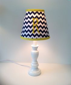 Nautical anchor lamp shade light pink chevron by lightningbugs monogrammed lamp shade navy blue chevron yellow by lightningbugs 5000 mozeypictures Image collections