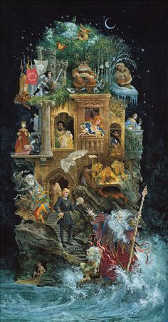 This amazing piece by James C. Christensen is my favorite print I have hanging on my walls. I grew up with this in my house and it inspired me to want to read all of the plays so I'd know how each is represented here. Can you name what scene portrays what play?
