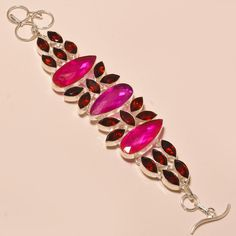 Awesome Faceted Pink Rubellite & Garnet 925 Sterling Silver Jewelry Bracelet #Handmade
