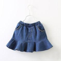 Everweekend Sweet Kids Girls Denim Skirts Ruffle Beading Pockets Spring Summer Skirts