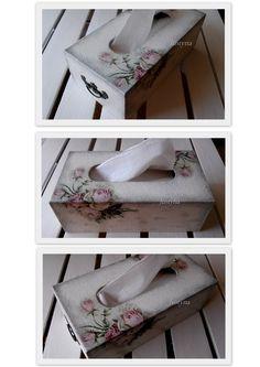 Vintage Rose Tissue Box Wood Decoupage