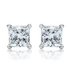Diamond Earrings Design 12 Carat 14k White Gold Solitaire Stud Princess Cut 4