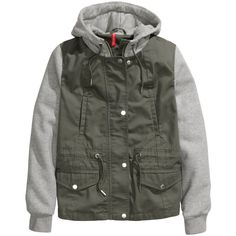 H&M Hooded jacket (450 EGP) ❤ liked on Polyvore featuring outerwear, jackets, khaki green, hooded drawstring jacket, green jacket, h&m jackets, green zip jacket and drawstring jacket