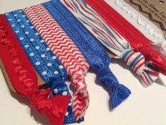 NEW ENGLAND PATRIOTS Cubs Chicago Tiger Stripes Blue and Red Chevron and CenterRuffle Hair Ties on Etsy, $6.50