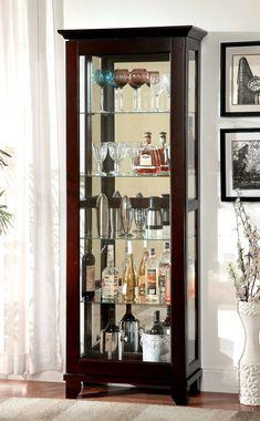Furniture of America Ludden Dark Walnut Curio Cabinet Storage and Organization Curio Cabinet Decor, Glass Curio Cabinets, Wine Cabinets, Storage Cabinets, China Cabinet, Crockery Cabinet, Glass Shelves, Coaster Furniture, Bar Furniture