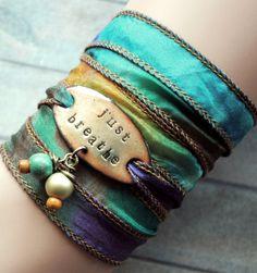 Silk+wrap+bracelet++silk+ribbon+bracelet+boho+by+MystiqueSieraden