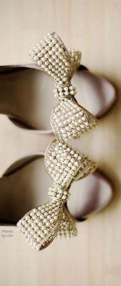 Valentino Pearl Bow Heels | Wedding Bridal Pearl Jewelry | Pearl Wedding Bridal Shoes