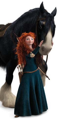 BRAVE - Merida and her horse Angus - Merida is a Princess by birth and an adventurer by spirit. She loves her family, but she wants to control her own destiny. - Angus - Black as night with ivory muzzle and fetlocks, Angus is Merida's powerful Clydesdale and her most trusted confidant.