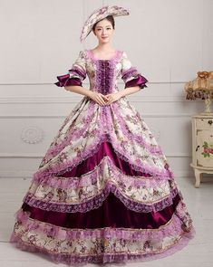 7679af783a9 lady Victorian Gothic Period Ball Gown Theare purple cosplay zipper dress