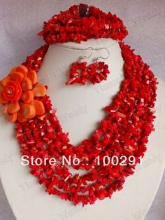 No. 3214 Fashion Coral jewelry set necklace bracelet and earrings for african wedding $77.38