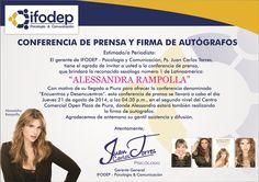 Quedan todos invitados para este jueves 21 de agosto en el Open Plaza de Piura, desde las 04:30 pm. #AlessandraRampollaenPiura2014
