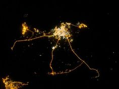 9 Incredible Pictures of City Lights From Space Earth At Night, Remote Sensing, International Space Station, Light And Space, Life Is An Adventure, City Lights, Night Time, Nasa, Art Photography