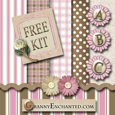 """GRANNY ENCHANTED'S FREE DIGITAL SCRAPBOOK KITS: """"Pink-Brown"""" Free Digi Scrapbook Kit with Papers, Alphabet, and Embellishments"""