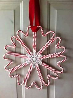 Candy cane door snowflake