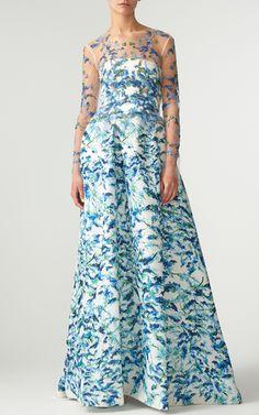 Pacific Blue Multi Wisteria Silk Gazar Strapless Ball Gown by MONIQUE LHUILLIER…
