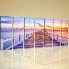 "Large Canvas Wall Art Giclee Print Beach Landscape Sunset Glow Bridge Framed Extra Large Wall Art, Gallery Wrapped, by Bo Yi Gallery 76""x36"". Large Canvas Wall Art Giclee Print Beach Landscape Sunset Glow Bridge Framed Subject : Sunset Style : Photography Panels : 7 Detail Size : 10""x36""x7 Overall Size : 76""x36"" = 193cm x 91cm Medium : Giclee Print On Canvas Condition : Brand New Frames : Gallery wrapped [FEATURES] Lightweight and easy to hang. High revolution giclee artwork/photograph...."