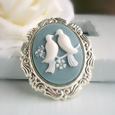 Blue Bird Cameo Brooch Silver Cameo Pin White Doves Vintage Style Cameo Jewelry