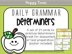 24 Determiners Task Cards (Grammar activity, SATs, SPaG)