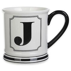"""Formations Block Letter """"J"""" Monogram Mug"""