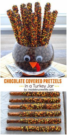Chocolate covered pretzels make fun tail feathers in this easy to make turkey jar. No chocolate covered raisins though, some other chocolate  covered candy